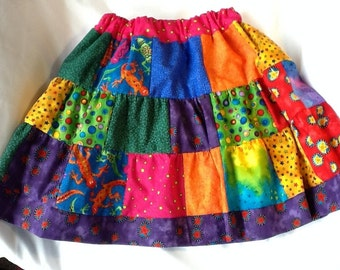 Girls Brightly Colored Patchwork Skirt
