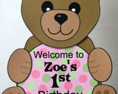 Girl Pink Teddy Bear 1st Birthday Party or Baby Shower Decorations- DOOR SIGN, personalized, custom