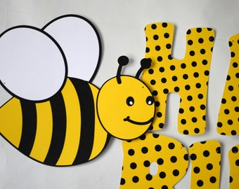 BUMBLE BEE Birthday BANNER, Honey Bee Party Decorations, Bug Theme Birthday