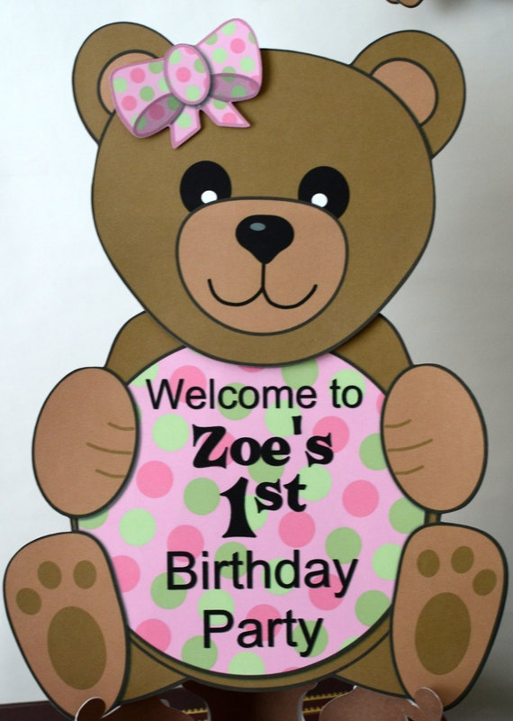 girl pink teddy bear 1st birthday party or baby shower