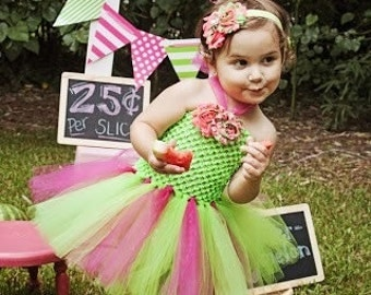 Baby tutu dress --- lime and hot pink tutu halter dress and matching headband---watermelon tutu set---First birthday tutu set---summer tutu