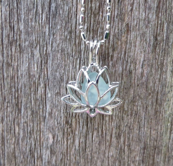 Lotus Flower Sea Glass Necklace