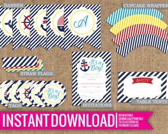 Nautical Baby Boy Shower Collection - Instant Download - DIY Printable - Invite, Tags, Cupcake Wrappers, Straw Flags, Table Tents, Banner