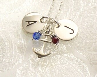 Monogrammed Necklace with Anchor Charm - Two Sterling Silver Discs -  Hand Stamped with Initials - Choice of Two Fonts - Nautical Jewelry