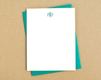 Simple Personalized Stationary Cards with Monogram / Monogrammed Stationery Notecard Set