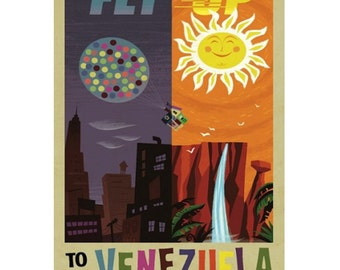 VENEZUEAL 2- Handmade Leather Postcard / Note Card / Fridge Magnet - Travel Art