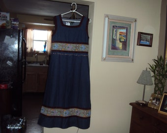 Vintage with Tag Papy Boez Long Denim Size Small Long Dress with Beading & Embroidered Bands
