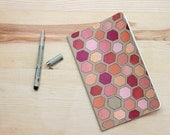Hand-painted Notebook-  Pink Honeycomb (5 x 8.25, ruled paper)