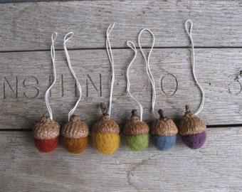 Wool acorn ornaments, set of 6, Earth Tones Rainbow, felt rainbow acorn ornaments, Waldorf Christmas, Montessori acorns, miniature ornaments