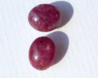 STAR RUBy  / Sapphire. MoViNg ShEEn and Star Natural. Pink  /  Purple Red. 2 pc. 8.14 cts. 7x9 and 8x9mm (RU442)