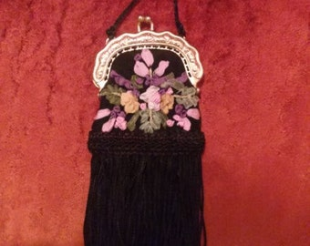 Age of Innocence Charming Emboidered Ribbon Evening Bag w Ornate Handle