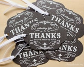 Thank You Gift Tags - Set of 6, Wine Bottle Tag, Chalkboard Tag, Stamped Thank You Tag, Wedding Favor Tag