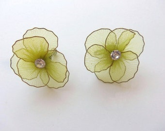Vintage 50s Flower Earrings Screw Back Yellow Wired Chiffon with Clear Rhinestone Centers