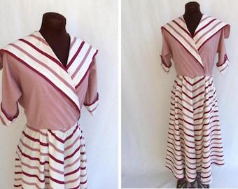 Vintage 40s Dress Chevron Stripes Dusty Rose Cream and Burgundy Cotton Nautical Size S