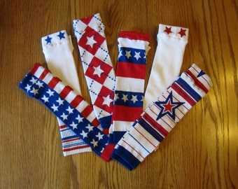 Patriotic Leg Warmers - 3 to Choose From - Pick Your Pattern