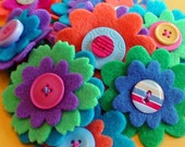 FELT FLOWERS with Buttons Scrapbook Embellishments Set of 3