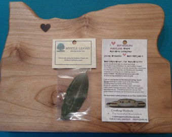 Myrtle wood Oregon shape cutting board. Heart wood burned for city of your choice