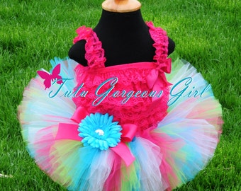 Hot Pink Turquoise and Lime Birthday Tutu...Girls First Birthday Tutu, Cake Smash Tutu...Newborn to Adult Tutu Sizes. . . CELEBRATION