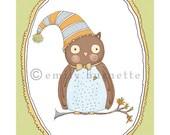 Percival the Owl Print - Nature - Blue Turquoise Aqua - Boy Girl Nursery Wall Art Print - Emily Burnette - Recipe 4 Cute