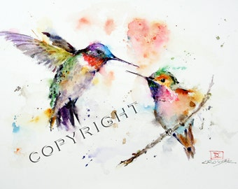 HUMMINGBIRDS 11 x14 Watercolor Print, Birtd Art, Hummingbird Painting,  by Dean Crouser