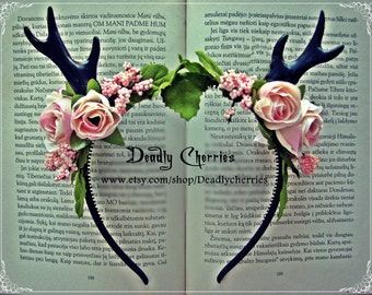 """SALE!!! Was 49 Eur! And now 39 Eur Mori  Goth deer horns antler hair band """"Sweet sugary roses"""""""""""