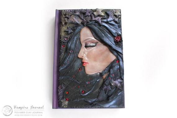 DISPLAY ITEM - Vampire Journal- secret diary- plain sketchbook- polymer clay - fantasy steampunk leather effect