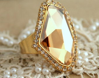 Swarovski adjustable light Topaz Champagne Rhinestone statement Ring - 14k plated gold geometric ring