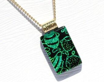 Fused Glass Jewelry, Dichroic Glass Pendant, Small - Fish Doodle Art, Kawaii, Aquatic, Sea Life, Ocean  - Green, Black (Item #10599-P)