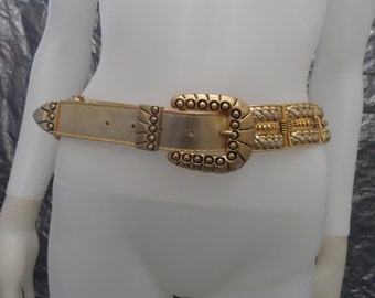 Vintage Gold Leather & Metal 1970's Glam Belt  L