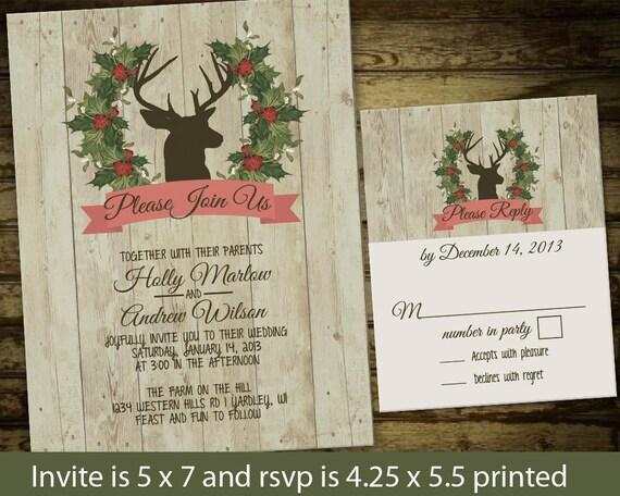 Deer Wedding Invitations: Deer Winter Wedding Invitation Printable Rustic By