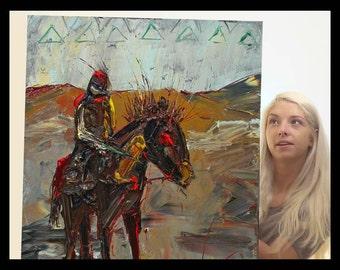 SOLD - Original Oil Painting Big Horses Kid Art Horse Animal Nature Equestrian C