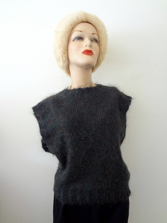 1980s Mohair Sweater Vest / fuzzy wool knit top / vintage NOS