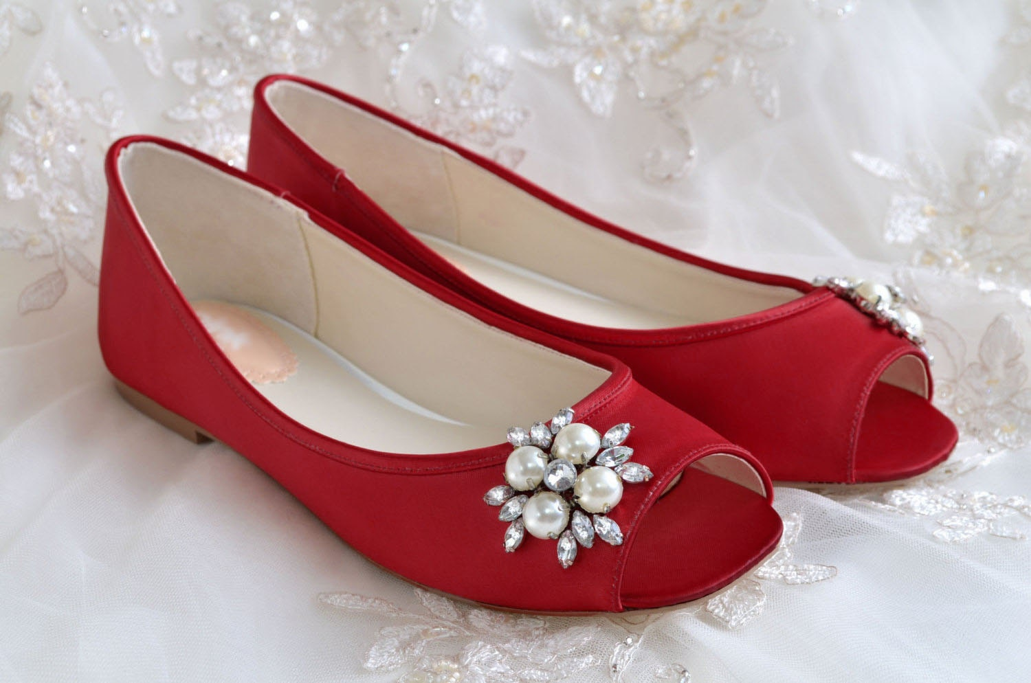Wedding Shoes Flat Peep Toe Shoes Bridal Shoes 120 Hand