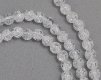 Ice Flake Quartz Beads - 4mm Round - Full Strand