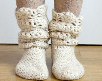 CROCHET PATTERN instant download - Tread Softly Socks - ivory white cozy holiday lace stockings tutorial PDF