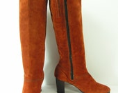 vintage hushpuppies suede knee high zipper boots womens 7.5 M rust pumkin brown leather fashion