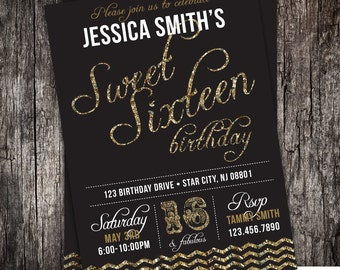 Glitter sweet 16th birthday party invitation - 21st, 30th, any age