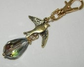 Flying Swallow Bird Zipper Pull Backpack Fob Gold Purse Charm Rainbow Crystal Drop