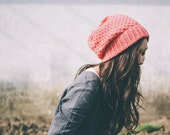 knit slouch winter hat organic wool and cotton SILJE - coral poppy