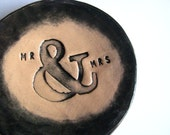 Mr & Mrs jewellery dish / ring-bearer dish. Made in Wales, UK. Black and cream.