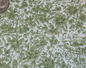 """Antique Cotton Floral Design Fabric, Green and White Yardage 35 1/2 Inch Width x 1 yard, 20"""""""