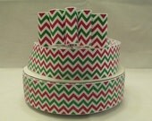 5 Yds. WHOLESALE 1.5 Inch Red/Green/White Christmas Sparkle Chevron grosgrain ribbon LOW Shipping Cost (New Item)