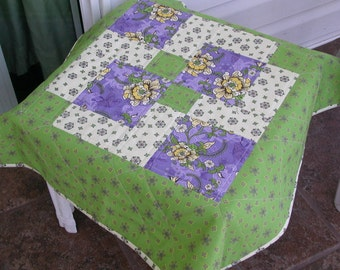 QUILTED TABLE TOPPER or Baby Quilt in Green, Lavender, Yellow and Cream florals Approx 29 inches squareQuiltsy Handmade