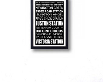 Stoke Newington to Victoria London Bus Roll Wall Art Poster. Route 73