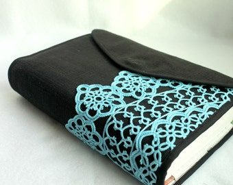 Lace Bible cover, Journal Cover ,black linen, custom made
