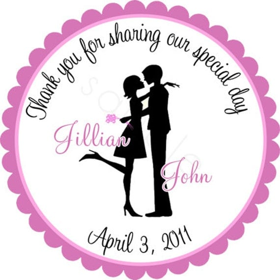 Wedding Stickers Couple In LOVE Silhouette Personalized