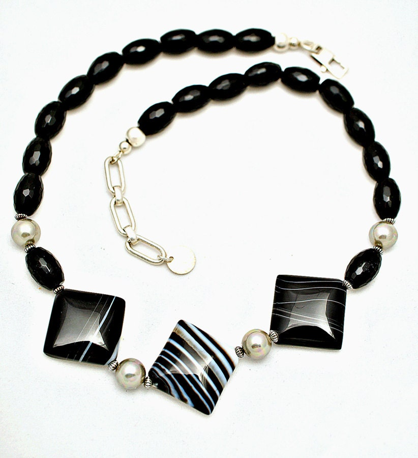 Art deco black onyx necklace choker sterling baroque pearl for Deco baroque