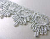 1 yard metallic silver gray heart Venice lace decorator Trim - 1.5 inches wide