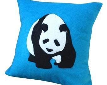 Panda cushion, Turquoise fleece applique pillow