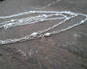 Elegant Drapery Necklace or Bracelet, Sterling Silver with Tiny Pearls  by Quintessential Arts
